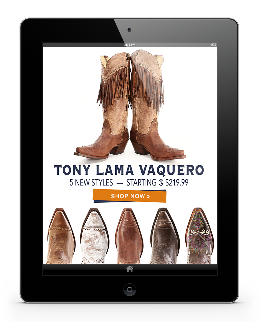 Rachel Oglesby Email Design Tony Lama Vaquero Boots